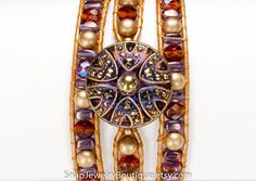 """Leather snap triple wrap bracelet beaded topaz amethyst gold, for 18mm snaps, like ginger snaps noosa, fits up to 7"""" (17.8cm) wrist"""