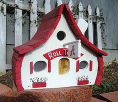 Too cute!  Alabama Crimson Tide BirdhouseROLL TIDE by BirdshacksUSA on Etsy, $45.00