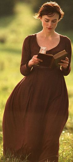 "From Pride and Prejudice - At the beginning of the movie, Elizabeth is shown reading a novel titled ""First Impressions"", this was Jane Austen's original title of her novel before she altered it to ""Pride and Prejudice""."