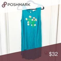 🆕 Cactus T- Shirt Dress T-Shirt Dress in Dark teal/ blue green. Peach Love California Tops