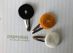 wool felt hair clip trio