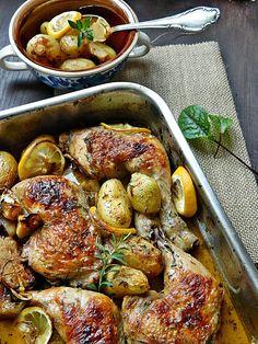 Dr Ola's kitchen: Roasted Chicken with Lemon & Herbs. Geröstete Hähnchen mit Kräuter & Zitronen.