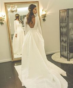 Long Sleeve Wedding Dress New A-line Scoop Neck Satin Court Train Appliques Lace Long Sleeve Backless Wedding Dresses Simple Wedding Gowns, Handmade Wedding Dresses, Backless Wedding, Long Sleeve Wedding, Princess Wedding Dresses, Dream Wedding Dresses, Elegant Wedding, Romantic Weddings, Lace Wedding