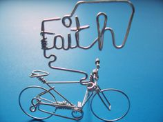 FAITH Word Bicycle Art - Christmas Ornament Home Decor - Script Words FAITH Sign - Bike Incense Holder - Unique gifts for Cyclists / Bike Lovers