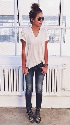 White tee and jeans and fancy shoes Strappy heels. Shades. Summer spring fall outfit