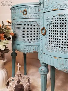 Painted End Tables, Louis Xvi, Say Hello, Painted Furniture, Nightstand, Doors, Shapes, Pretty, Beautiful