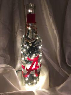 Alabama Crimson tide lighted wine bottle