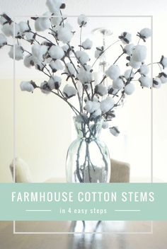 How to create cotton stems in 4 easy steps Want to add some farmhouse style to your home? Try out this easy and extremely cheap DIY to create Cotton stems. Click through or pin for later! Diy Home Decor Easy, Handmade Home Decor, Cheap Home Decor, Farmhouse Decor Cheap, French Farmhouse Decor, Farmhouse Style Decorating, Farmhouse Chic, Boho Home, Diy Décoration