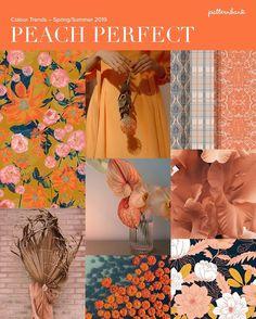 Peach Perfect – Colour Trends – Spring/Summer 2019 Peach Bursts / Pink & Orange Clash / Blue Tones / Floral & Ethnic Mix / Colour Blends / Greyed Colour