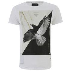 Religion Men's Bird Print Crew Neck T-Shirt (1,310 DOP) ❤ liked on Polyvore featuring men's fashion, men's clothing, men's shirts, men's t-shirts, white, mens crew neck t shirts, mens cotton shirts, mens t shirts, mens cotton t shirts and j crew mens shirts
