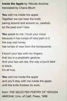Inside the Apple by Yehuda Amichai