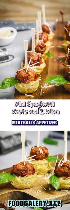 Mini Spaghetti Nests and Italian Meatballs Appetizer >> for complete recipe please click Sauce Recipes, Pasta Recipes, Keto Recipes, Vegetarian Recipes, Cooking Recipes, Vegan Appetizers, Appetizer Recipes, Appetizer Party, Dinner Recipes
