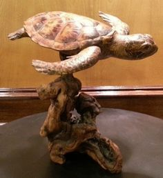 Amazing wood carving, incredible detail found on Etsy. unique wood carving of a Sea Turtle by Artist Jim Harden #ad #Etsy #turtle #wood #sculpture