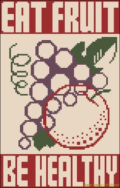 Eat Fruit Be Healthy free cross stitch poster