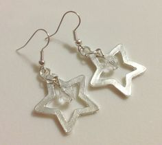 Earrings  Silver Star Charms  Crystal Beads Star by CraftyChic90, $4.50