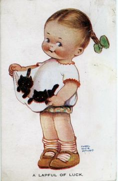 "Mabel Lucie Attwell Postcard ""A Lapful of Luck"" Girl with Two Kittens 1925 