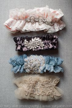 Vintage Inspired Wedding Garters. The bottom one would go nicely with that dress