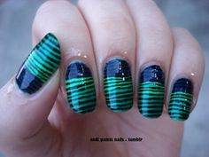 green stripes on blue nails!