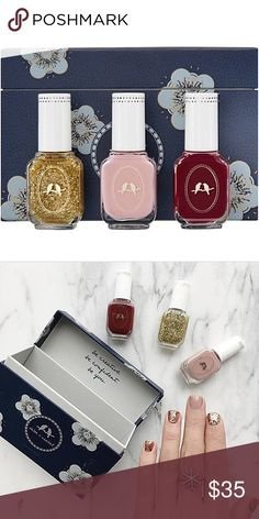 Set of 3 Nail Polishes I love these new and Extremely pigmented color + high shine nail polishes that have recently arrived in our boutique! These have a curved brush for single stroke/precise application. They are paraben + gluten free 🔹3 x 12 ml/ 0.4 fl. oz. 🔹Chandelier: gold glitter 🔹Moulin Rouge: classic red 🔹Macaron: mauve set of 3 nail polishes Chloe + Isabel Accessories