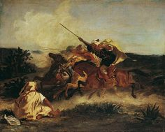 """EUGÈNE DELACROIX FANTASIA ARABE, 1833 oil on canvas In 1832, Delacroix finally embarked on the journey to Morocco he had wanted to take for so long. It was before the gates of Meknes that he experienced what we see in this painting: a """"fantasia"""", a traditional military game played on horseback. Thus what you see here is not invention but memory. The painting's composition and mode of execution mirror something of the artist's fascination with the wild, with the tumultuous event. Whereas…"""