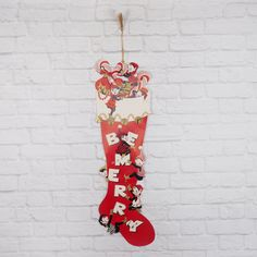 Vintage Paper Christmas Decoration Hinged Paper Stocking with Elves by FireflyVintageHome on Etsy