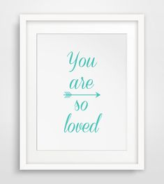 Blue Wall Art You Are So Loved Turquoise Art by MelindaWoodDesigns #bluewallart #nurserydecor