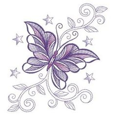 Wind Bell Embroidery Embroidery Design: Decorative Butterfly 3.80 inches H x 3.52 inches W