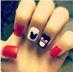 My Mickey and Minnie nails :) I loved the way they came out :)