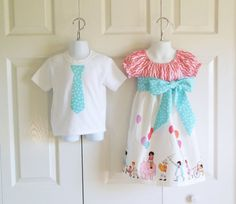 Matching Outfits Brother Sister Siblings - Girls Peasant Dress and Boys Tie Bodysuit Tshirt - Children on Parade