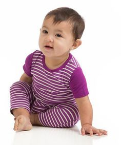 Another great find on #zulily! Orchid & Natural Stripe Romper - Infant #zulilyfinds
