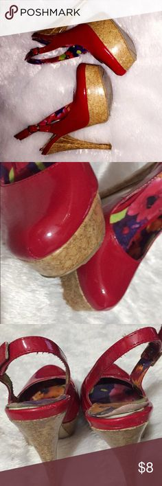pinup style Red Heels Worn a few times. Still in wearable condition. A couple Scratches on front as seen in 2nd pic. Inside soles coming apart can be glued not noticeable when the shoes are on. No Box. ✨Same Day Shipping!✨ Plz ask any questions. Penny Loves Kenny Shoes Heels