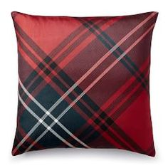 Tartan Printed Silk Pillow Cover, Red