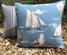 Cushion for Sofa Blue Sailing Boat Cushion Sailing Boat Pillow Birthday Gift Dad Brother Handmade Blue Pillow Lighthouse Nautical Yacht Nautical Cushions, Blue Cushions, Cushions On Sofa, Throw Pillows, Sea Party Food, Seaside Decor, Sailing Boat, Holiday Themes, Bunting