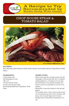 A Recipe to Try- Recommended by @Larisa Brown Derby Marketplace - Chop House Steak & Tomato Salad