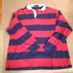 POLO Ralph Lauren MENS XL red/blue stripe rugby Polo Ralph Lauren striped rugby shirt in red and dark blue. Green polo horse. MENS XL. good condition. Polo by Ralph Lauren Tops Tees - Long Sleeve