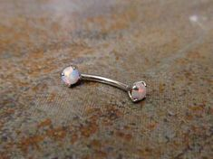 Implant grade 316L surgical steel barbell White fire opal Ring can be use for Naval Cartilage Helix Ear Cuff Eyebrow Conch Snug Rook  Bar Length : 8