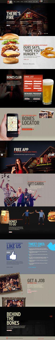 Smokey Bones Website. Website design layout. Inspirational UX/UI design samples. Visit us at: www.sodapopmedia.com #WebDesign #UX #UI #WebPageLayout #DigitalDesign #Web #Website #Design #Layout