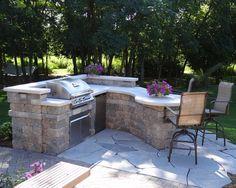 Custom Outdoor Kitchen - contemporary - patio - milwaukee - by Breckenridge Design, Construction & Maintenance Outdoor Grill Area, Outdoor Kitchen Patio, Patio Grill, Bbq Area, Outdoor Kitchen Design, Outdoor Rooms, Backyard Patio, Outdoor Living, Outdoor Decor
