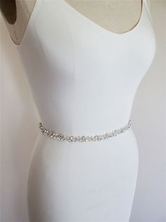 Skinny bridal belt sash Crystal wedding belt by SabinaKWdesign