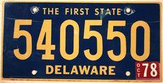 1978 Delaware License Plate