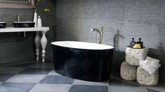 Stylish black bathtub and bath sink by Victoria + Albert / Bathtub: Ios Collection, Bath Sink: Ios Collection