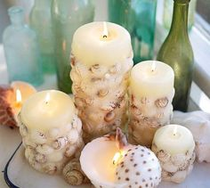 Seashell candles, Seashells and Candles on Pinterest