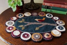 Reclaimed Wool Felt Bird on Branch Table Mat