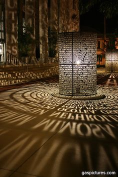 Light Sculpture In front of a building in downtown Ft. Myers Your solitary shape sleeping Landscape Architecture, Landscape Design, Instalation Art, Stage Design, Theatre Design, Shadow Art, Sculpture, Landscape Lighting, Light Art