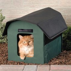 """Outdoor Heated Cat Shelter - A removable 20-watt heater beneath the floor of the shelter generates radiant heat that warms the floor yet is not hot to human touch. The floor is waterproof and lined with 1 1/2"""" of soft foam, providing a comfortable, dry surface for cats to lounge. Plugs into AC with 6' cord. For cats up to 25 lbs - from Hammacher Schlemmer"""