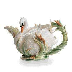 Franz Porcelain Southern Splendor Swan Design Teapot  / 250.00