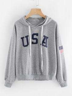 To find out about the Flag Printed Drawstring Hoodie at SHEIN, part of our latest Sweatshirts ready to shop online today! Hoodie Sweatshirts, Printed Sweatshirts, Sweat Shirt, Tee Shirt, Look Cool, Lady, Clothes, American Flag, Long Sleeve
