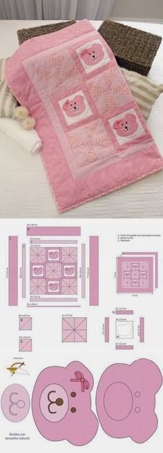 Sewing For Babies Eu Amo Artesanato: Colcha de bebe com patch aplique - Colcha de bebe com patch aplique e com moldes Easy Baby Blanket, Baby Blankets, Diy Baby Headbands, Patchwork Baby, Patch Aplique, Leftover Fabric, Sewing Projects For Kids, Baby Sewing, Fabric Scraps