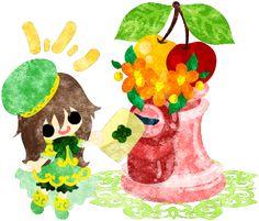 フリーイラスト素材可愛い女の子とさくらんぼのポスト  Free Illustration A cute little girl and a post of cherry   http://ift.tt/2rJOezq