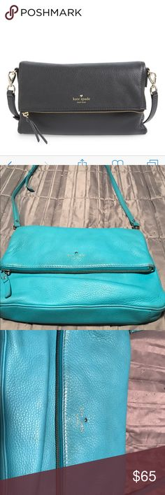 🎉Host pick 🎉Kate Spade cross body bag. Aqua Cobble Hill cross body bag with striped interior. Some signs of wear but not too noticeable. Comes with original dust bag. kate spade Bags Crossbody Bags